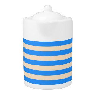 Tea Pot: Dodger Blue, Bisque Vertical Stripes.