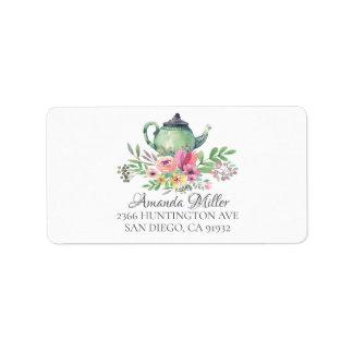 Tea Pot Floral Return Address Label