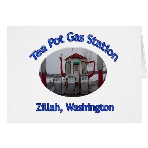 Tea Pot Gas Station Greeting Cards