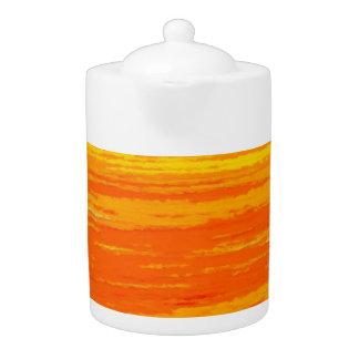 Tea Pot: Orange, Yellow Streaks.