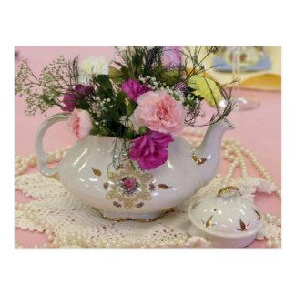 Tea Pot pink carnations Post Cards