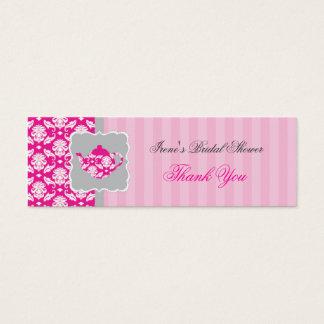 Tea Pot (Pink/Grey) Thank You Tag Mini Business Card