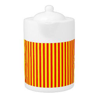 Tea Pot: Red, Yellow vertical Stripes.