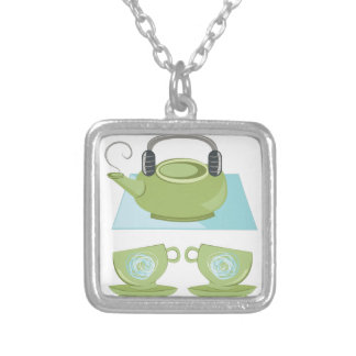 Tea Pot Silver Plated Necklace
