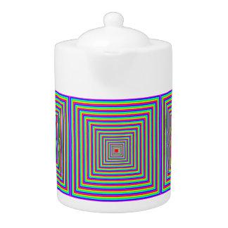 Tea Pot: Squares - Optical Illusion (Motif).