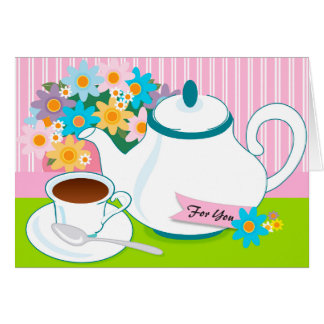 Tea Pot Tea Cup Flowers Thinking of You Card