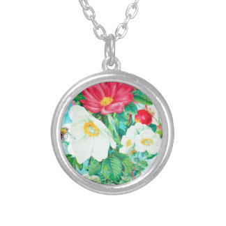 tea rose art silver plated necklace