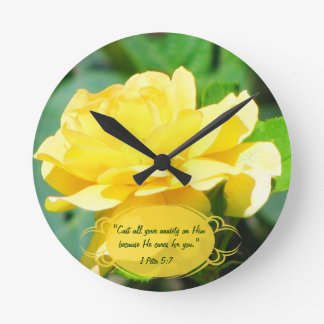 Tea Rose & Bible Verse Custom Clock