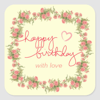 Tea Rose Birthday Envelope and Gift Bag Stickers