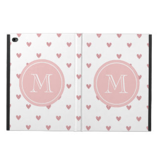 Tea Rose Pink Glitter Hearts with Monogram