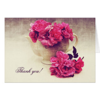 Tea roses in a tea-pot - Tea party thank you Greeting Card