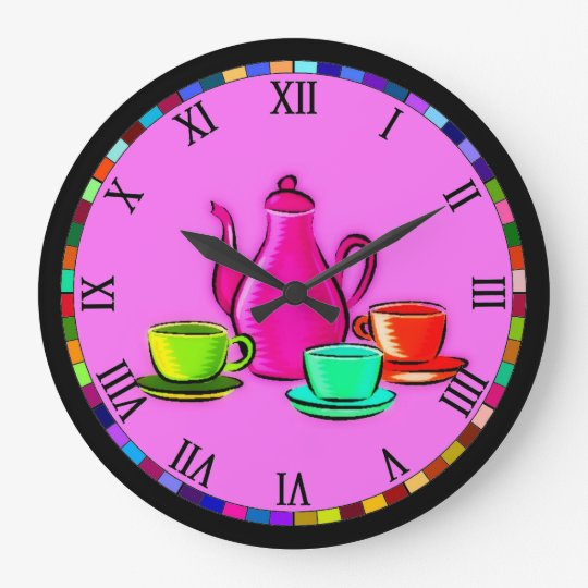 tea set kitchen clock