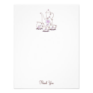 Tea Set Thank You Note Cards 4 25x5 5 Personalized Invites