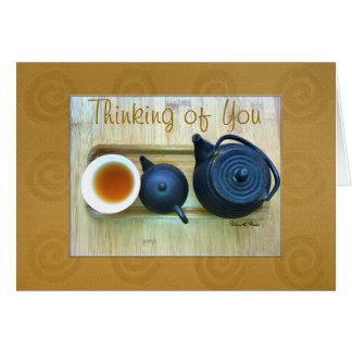 Tea Setting Still Life Photograph Overhead View Card
