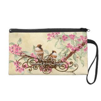 Tea Stain Birds Pink Cherry Blossom Bride's Clutch Wristlets