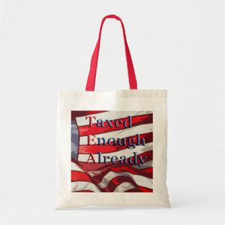 TEA - Taxed Enough Already Flag Background Bags