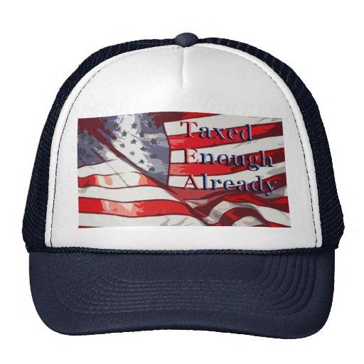 TEA - Taxed Enough Already Flag Background Trucker Hats