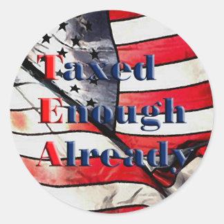 TEA - Taxed Enough Already on Flag Background Round Sticker