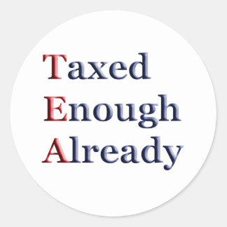 TEA - Taxed Enough Already Round Sticker