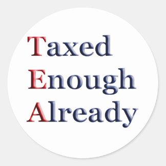 TEA - Taxed Enough Already Round Stickers