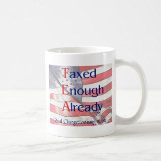 TEA - Taxed Enough Already with US flag background Classic White Coffee Mug