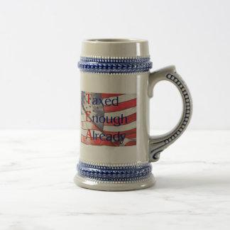 TEA - Taxed Enough Already with US flag Stein 18 Oz Beer Stein