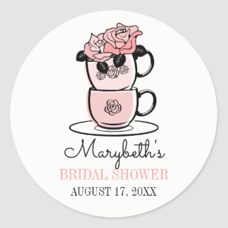 Tea Teacup Flowers Bridal Shower Favor Sticker