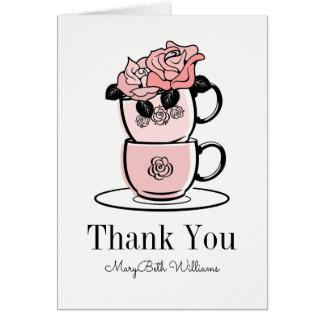 Tea Teacup Flowers Thank You Card