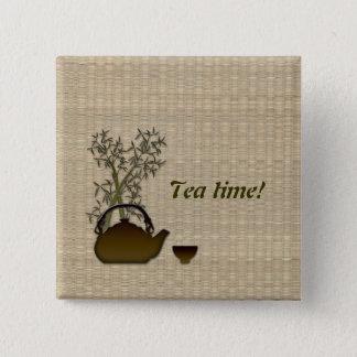 Tea time! 2 inch square button