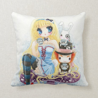 Tea time - Alice in Wonderland Throw Pillow