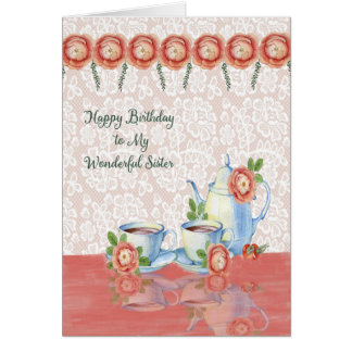 Tea Time Birthday Card for Your Sister