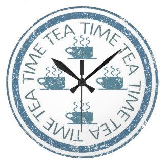 Tea Time Blue on White Large Clock