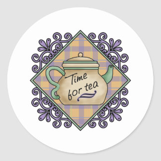Tea Time Cards, Postage, Tees, GIfts Round Sticker