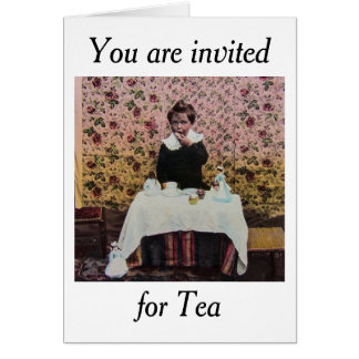 Tea Time for One Vintage Victorian Little Boy Greeting Card