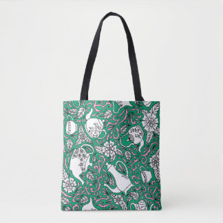 Tea Time Green Tote Bag