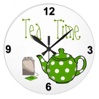 Tea Time Green & White Kitchen Large Clock