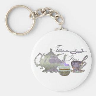 Tea Time! Lilac Teapot, Teacup and Cupcake Art Keychain