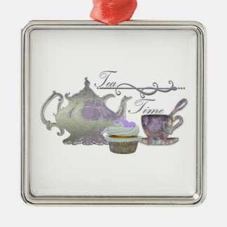 Tea Time! Lilac Teapot, Teacup and Cupcake Art Metal Ornament