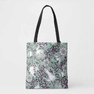Tea Time Mint Green Tote Bag