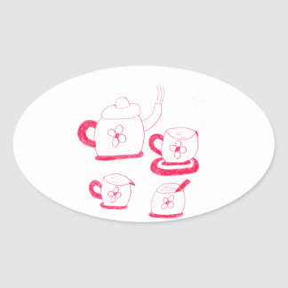 Tea Time Oval Sticker
