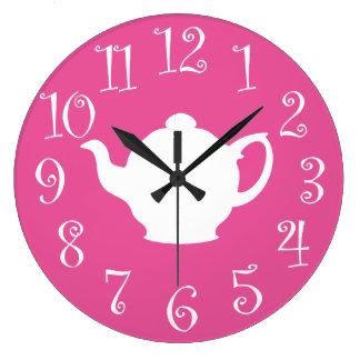 Tea Time Retro Clock Pink and White