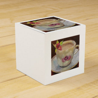 Tea Time Rose Painting Design Wedding Favor Box