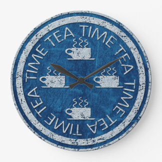 Tea Time Silver on Blue Large Clock