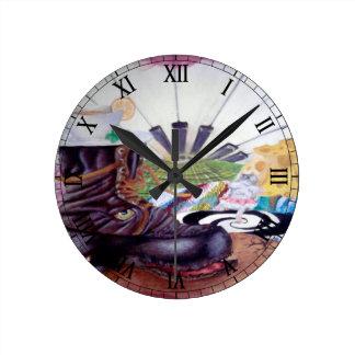 Tea time surrealism painting wall clock