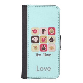 Tea Time Sweet Personalized Blue Phone Wallet
