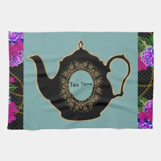 'Tea Time' Teapot and Floral Kitchen Towels