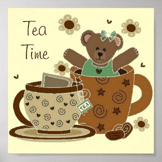 Tea Time Teddy Bear Portfolio 11x11 Poster