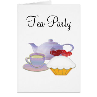 Tea time with cupcake hearts card