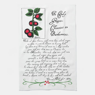 Tea Towel with Antique Recipe and Illustration