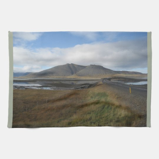 Tea Towel with picture of distant hills in Iceland